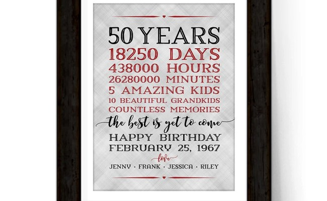 50th Birthday Gift For Women Men Parents Adult Birthday