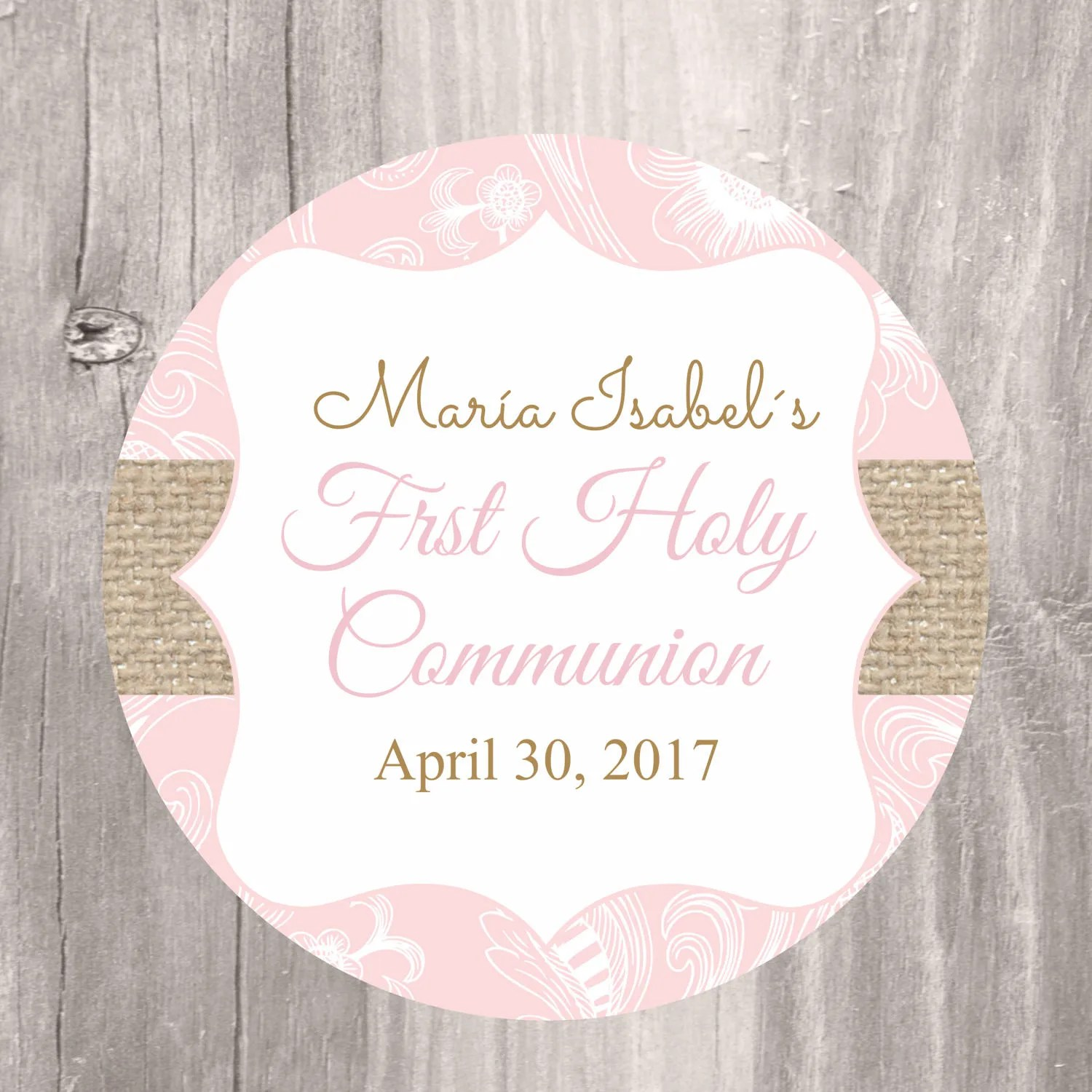 First Holy Communion Printable Favor Tag Printable Pink And
