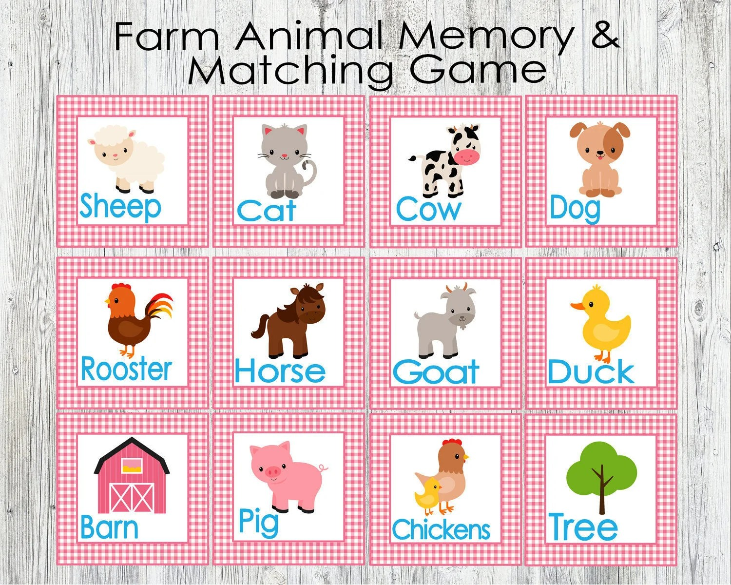 Pink Farm Animal Matching And Memory Game Printable Game For
