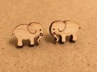 Baby Elephant Stud Earrings by BearPearWoodenWear on Etsy