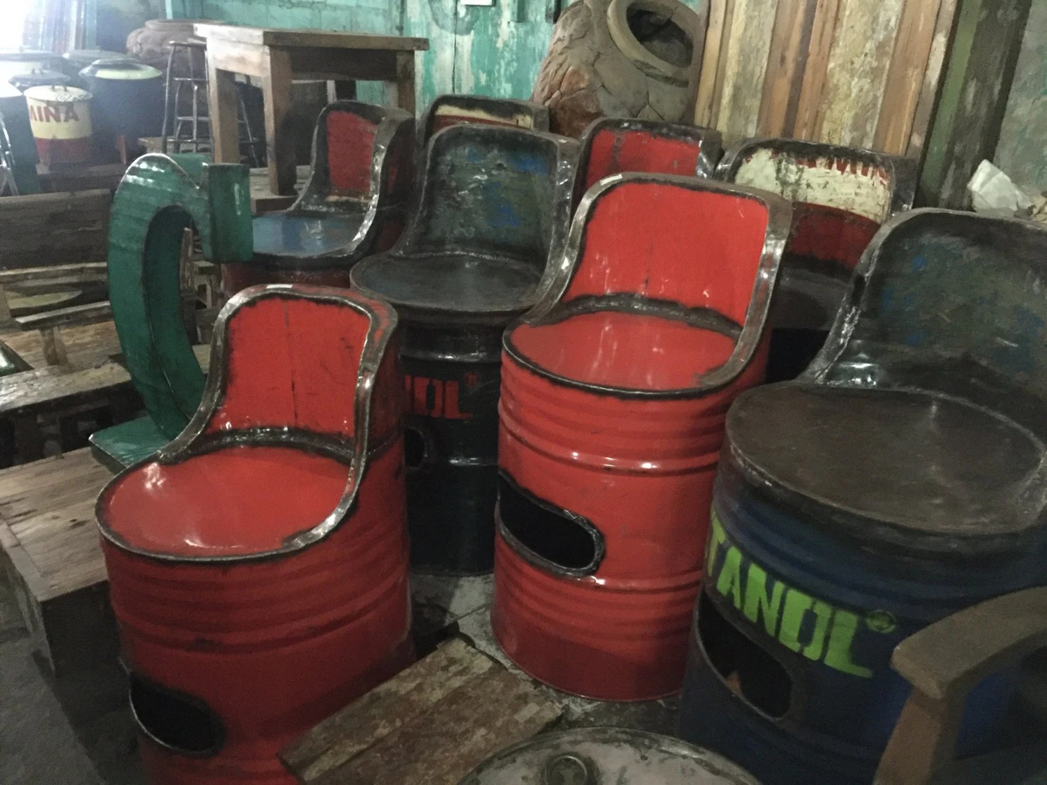 Drum Chair Recycled Oil Drum Seat Industrial Furniture Barrel Chair