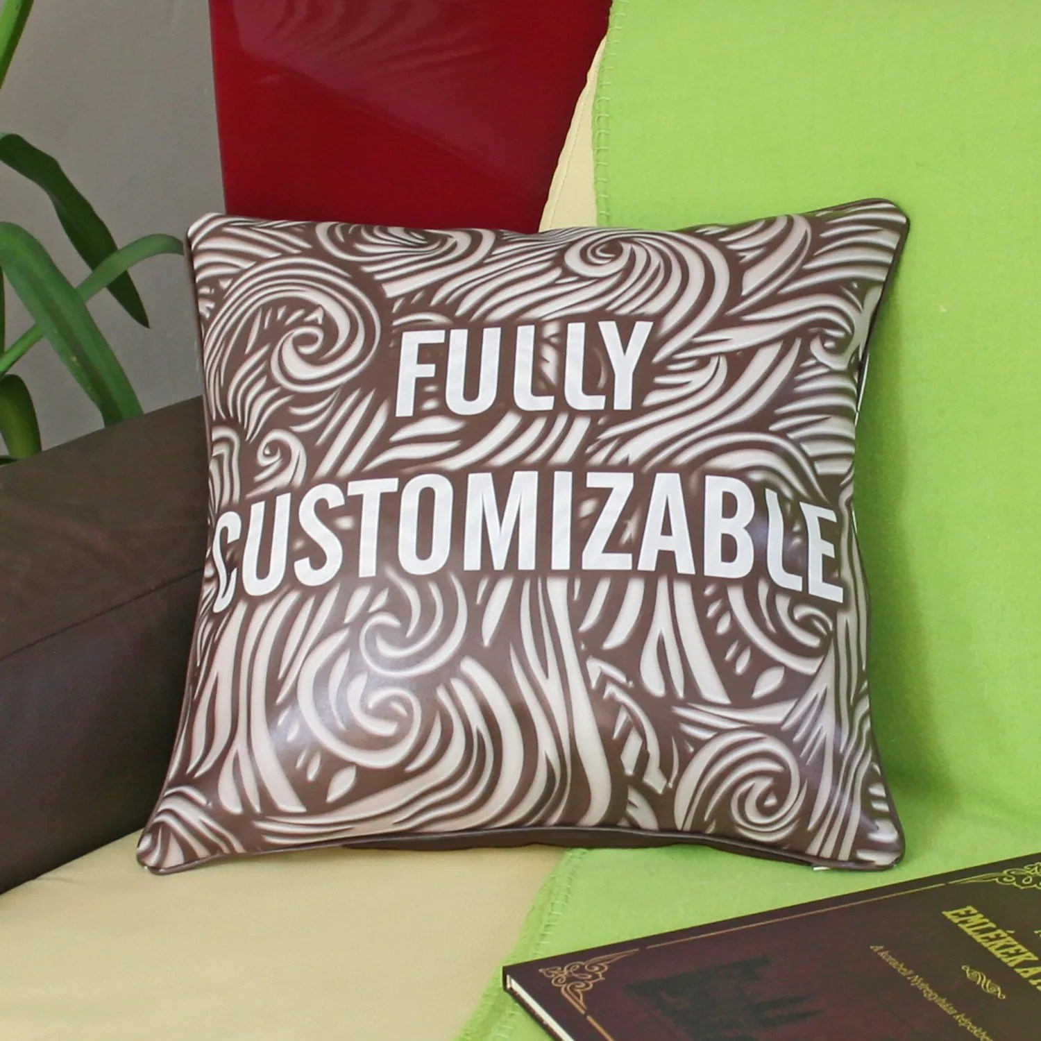 Faux leather CUSTOM PILLOW personalized pillow cover decorative throw pillow wedding gift