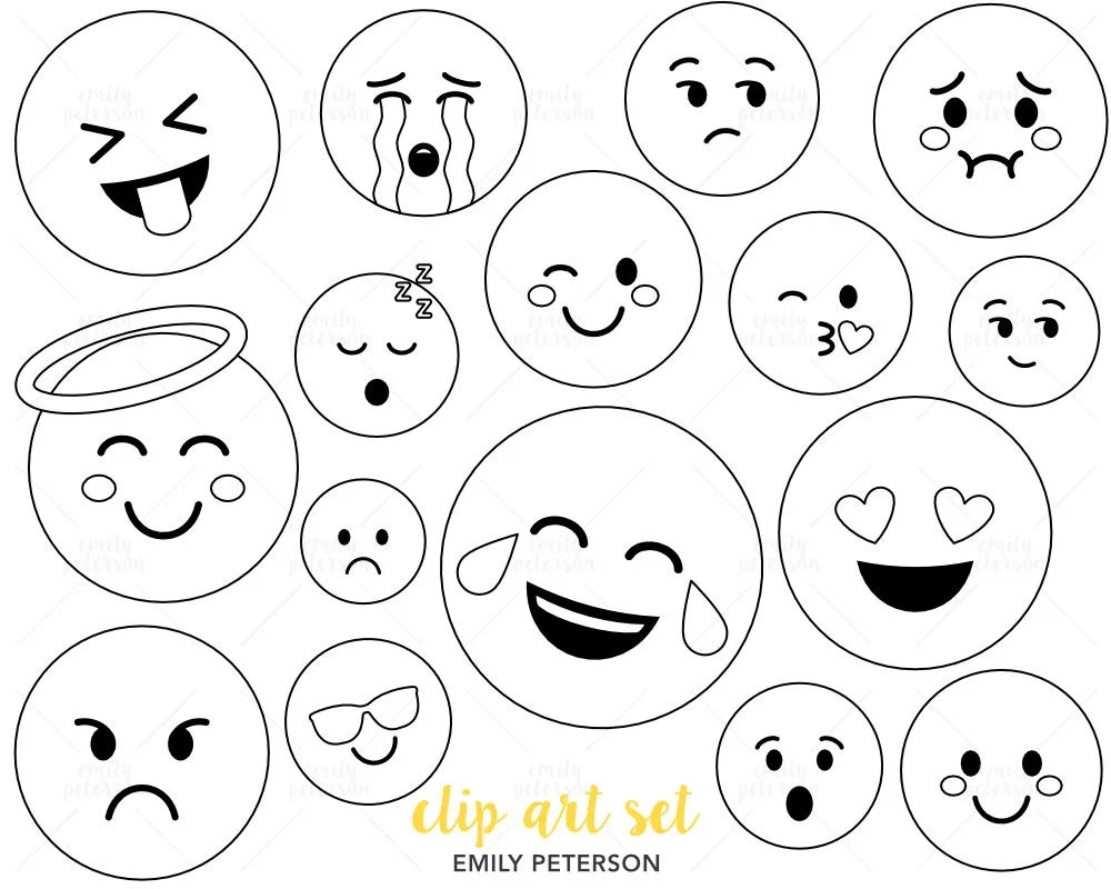 Transparent emoji clipart commercial use, smiley faces