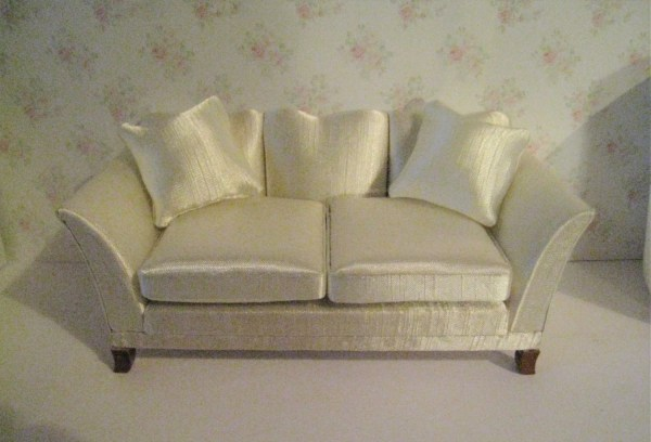 Dollhouse Sofa Satin sofa cream satin Living room sofa