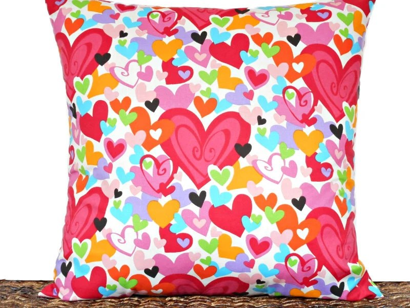 Hearts Valentine Pillow Cover Cushion Multicolored Red Pink