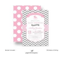 Pink Carriage Baby Shower Invitation Girls - Grey Chevron ...