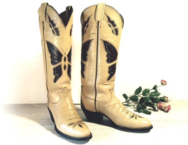 Vintage Cowboy Boots Tall Tony Lama Black Label Cream Brown