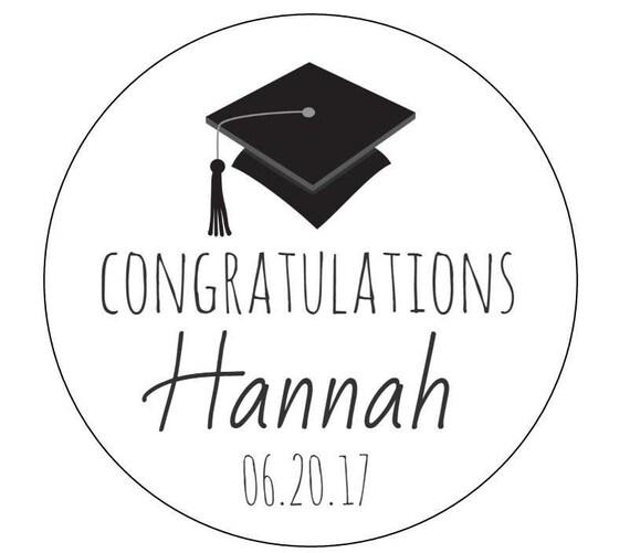 12 Congratulations Grad Stickers, Class of 2016, Cookie