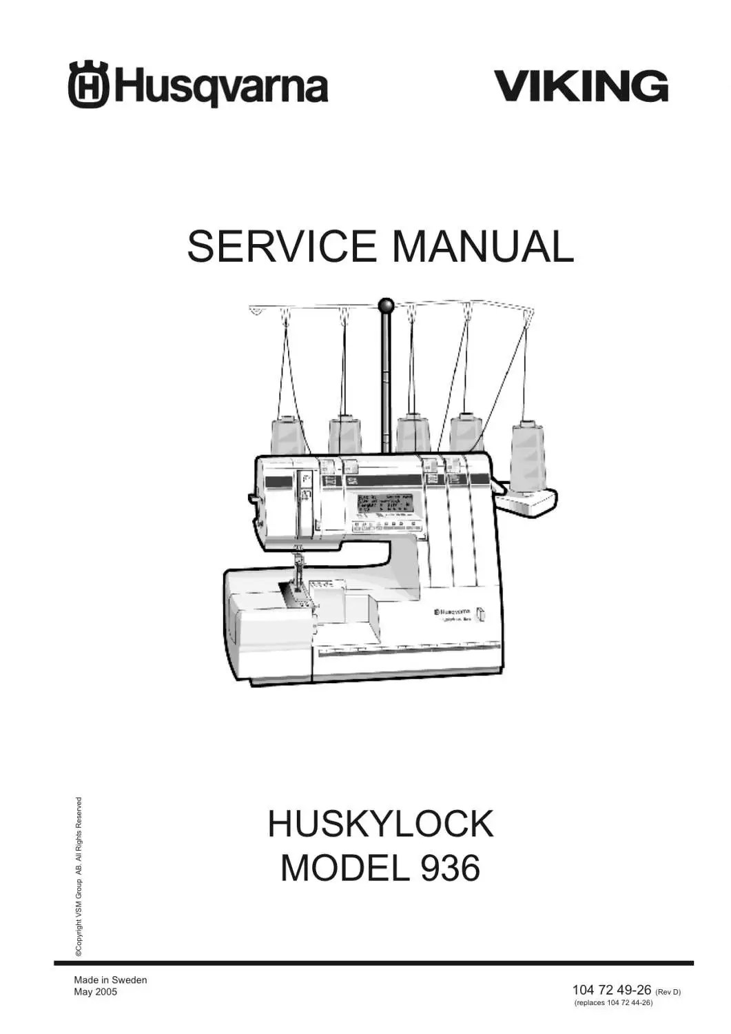 Huskylock 936 by Husqvarna Viking Service Repair manual and