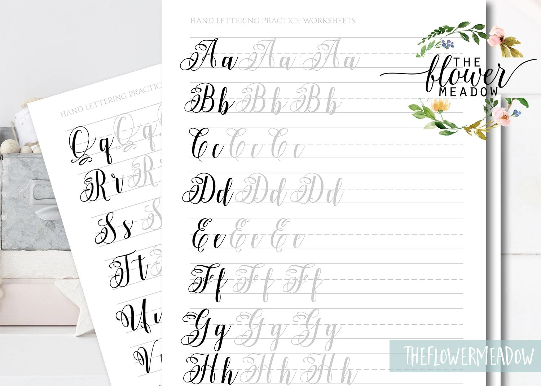 Learn Calligraphy Brush Alphabet Hand Lettering Guide Brush Lettering Worksheets Lettering