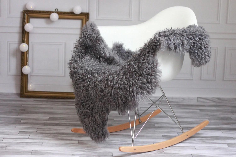 sheepskin rug on chair home office desk chairs sale genuine gotland breed pelt
