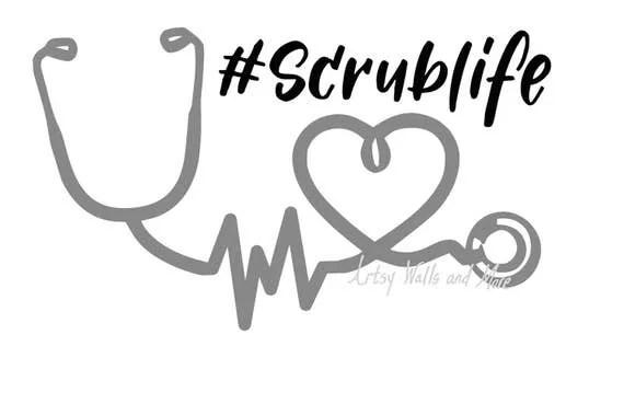 Nurse Scrub life Stethoscope heartbeat svg cut file, Nurse