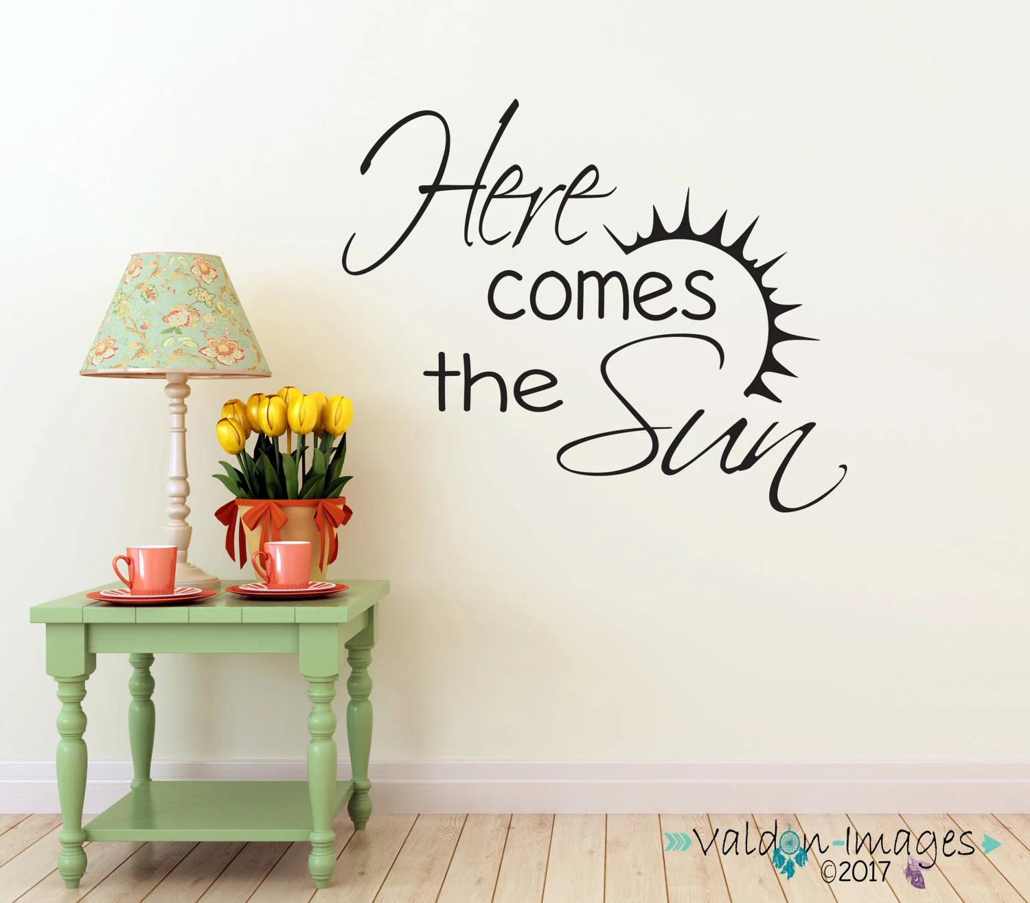 Here Comes The Sun Wall Decal Quote Wall Decor Inspirational