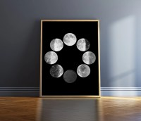 Moon Phases Print Black And White Print Moon Phase Wall Art