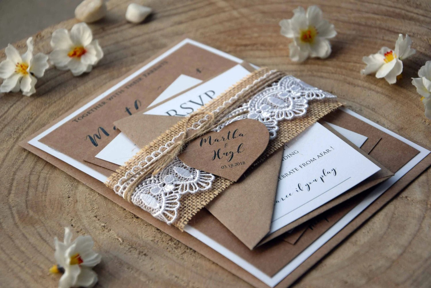Burlap and Lace Wedding Invitation Kit Personalized Wedding