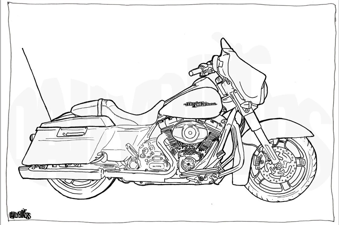 Harley Davidson Street Glide Colouring Page Motorcycle