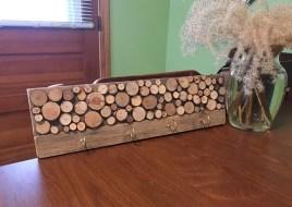 "handmade rustic reclaimed wooden pallet wood small 4 hook key rack shelf hanger wall rack 16"" shelf"