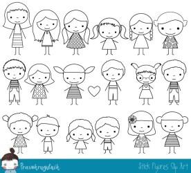 stick figure boy clipart clip outline children