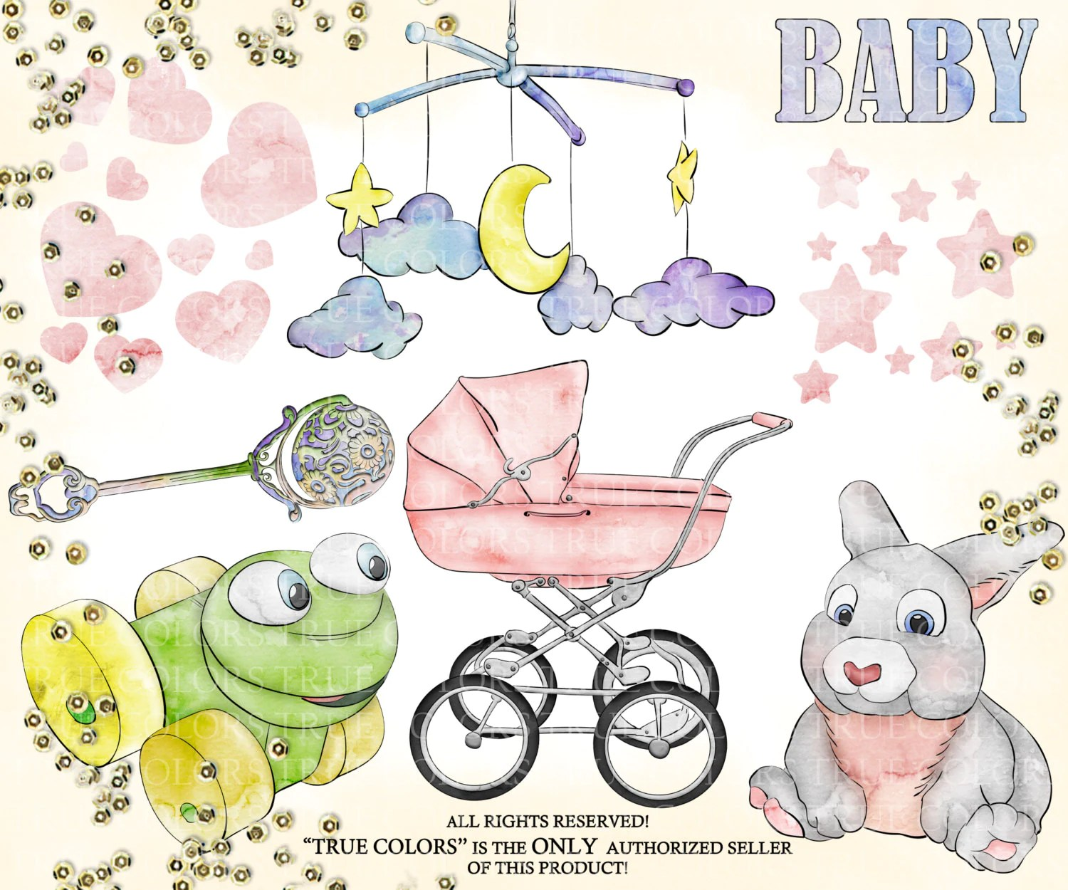 Hush Little Baby Clip Art Fashion Illustration Planner Stickers Supplies Watercolor Bunny