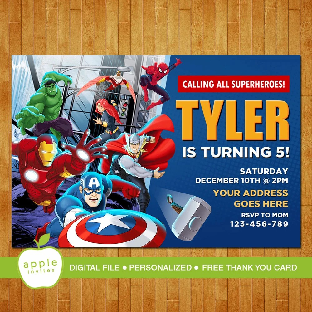 Avengers Invitation Avengers Birthday Avengers Party