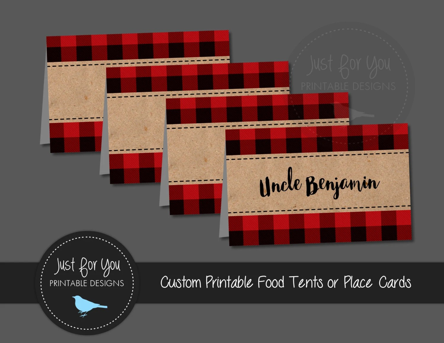 Red Buffalo Plaid Place Cards Food Tents Tags Labels