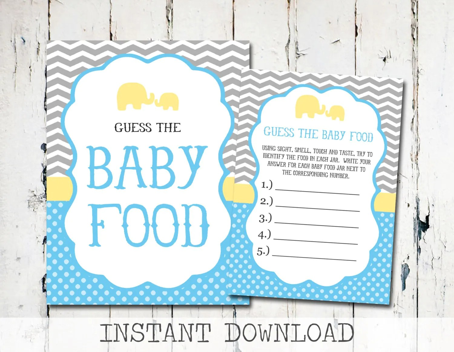 Baby Shower Guess The Baby Food Game Printable Baby Shower
