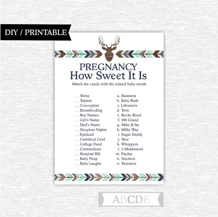 Candy Bar Baby Shower Game: Pregnancy How Sweet it is Shabby