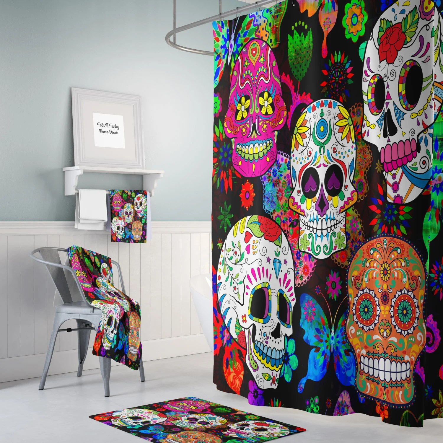 Sugar Skull Shower Curtain Day Of The Dead Rocking Color