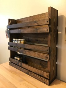 Spice Rack Rustic With 3 Shelves Kitchen