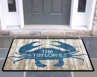 Personalized Door Mat Beach Crab Door Rug Beach House