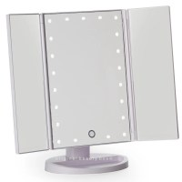 White Three Way Vanity Mirror-LED Lights with Folding Mirror