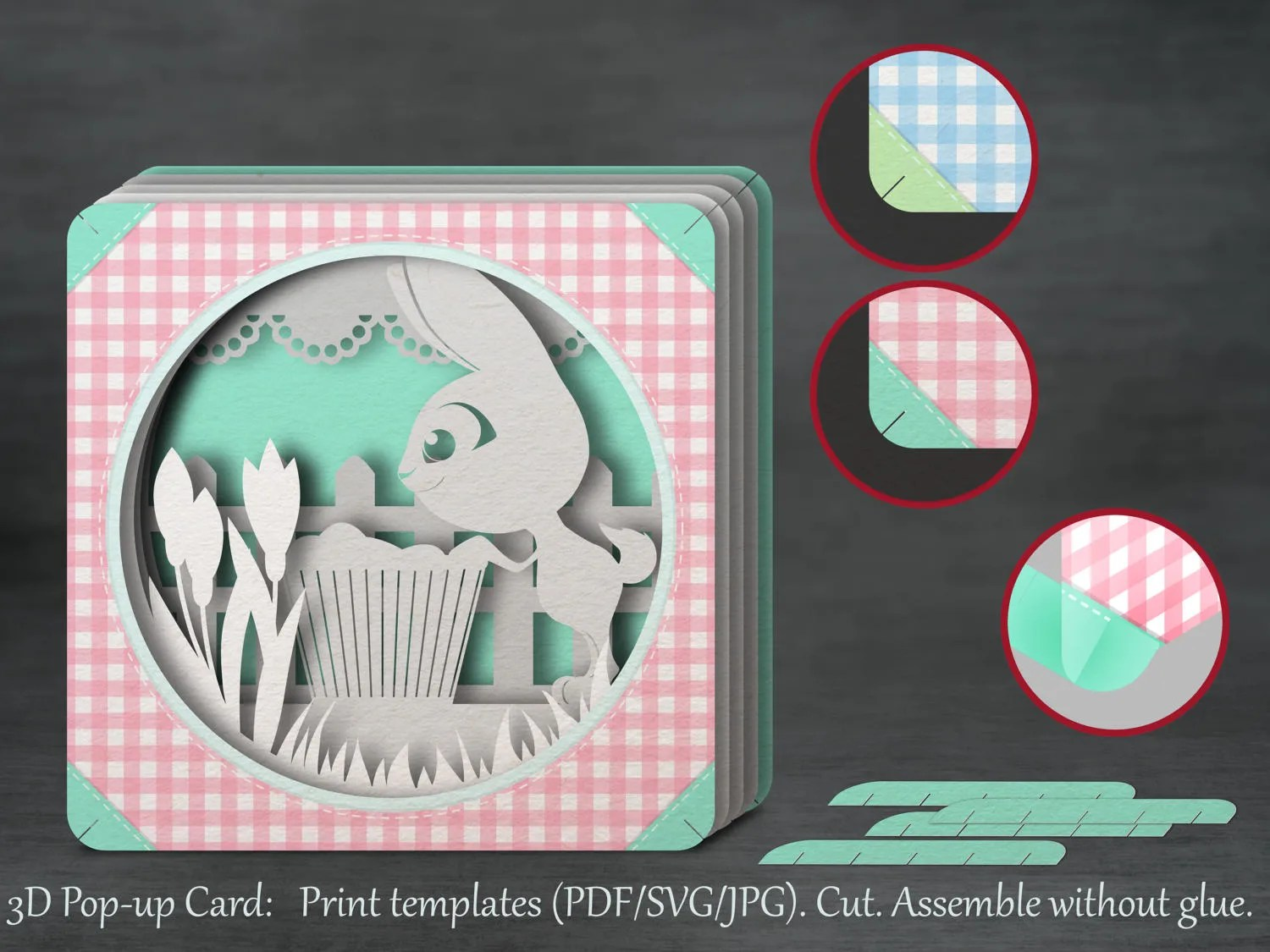 Tunnel Card 3D Pop Up Papercut Template Happy Easter Bunny