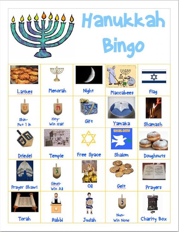 Bingo And Matching Games Hanukkah