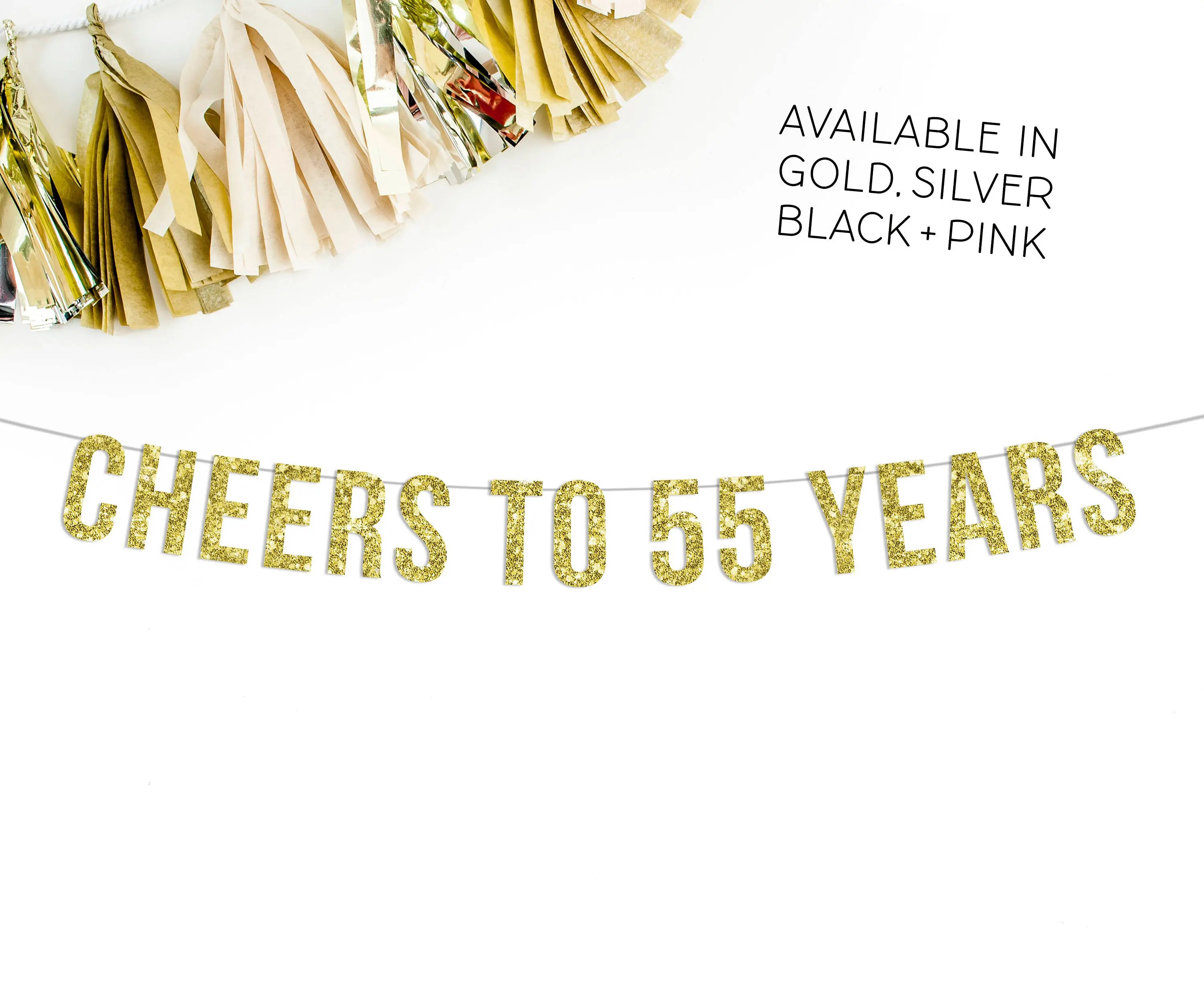 Cheers To 55 Years Banner 55th Wedding Anniversary Party