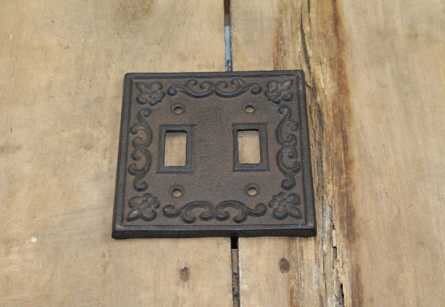 Cast Iron Double Light Switch Plate Cover