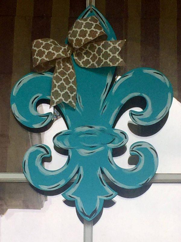 Painted Fleur De Lis Door Hanger