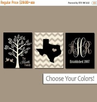 Family Tree Wall Art Personalized Monogram CANVAS or by ...