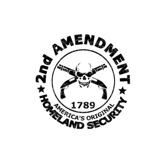 SVG 2nd Amendment Sawed off Gun Rights DXF Gun Skull
