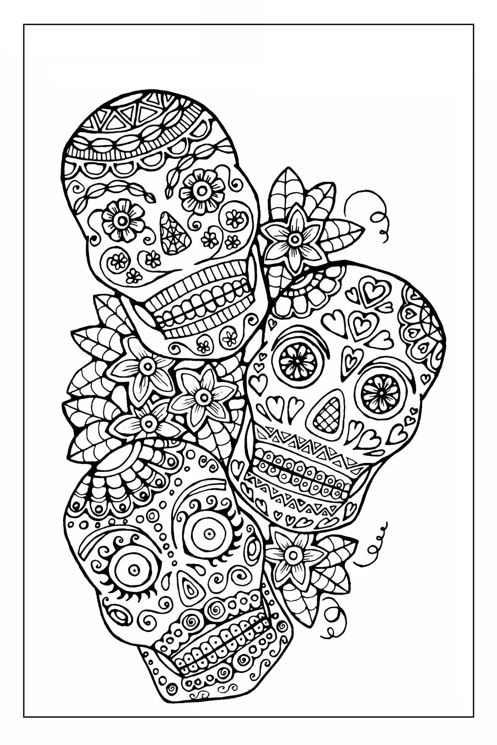 Items similar to Sugar Skull Coloring Page to Print and