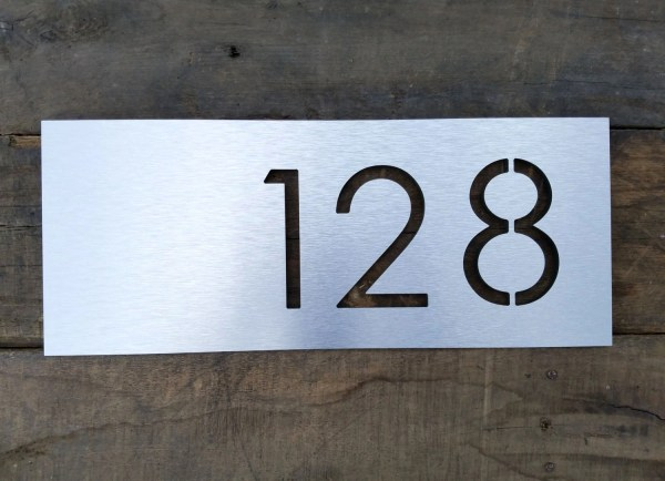 Address Plaque Modern House Numbers Brushed Metal Horizontal