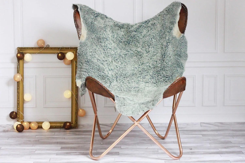 sheepskin rug on chair coaster accent sale scandinavian blue gray