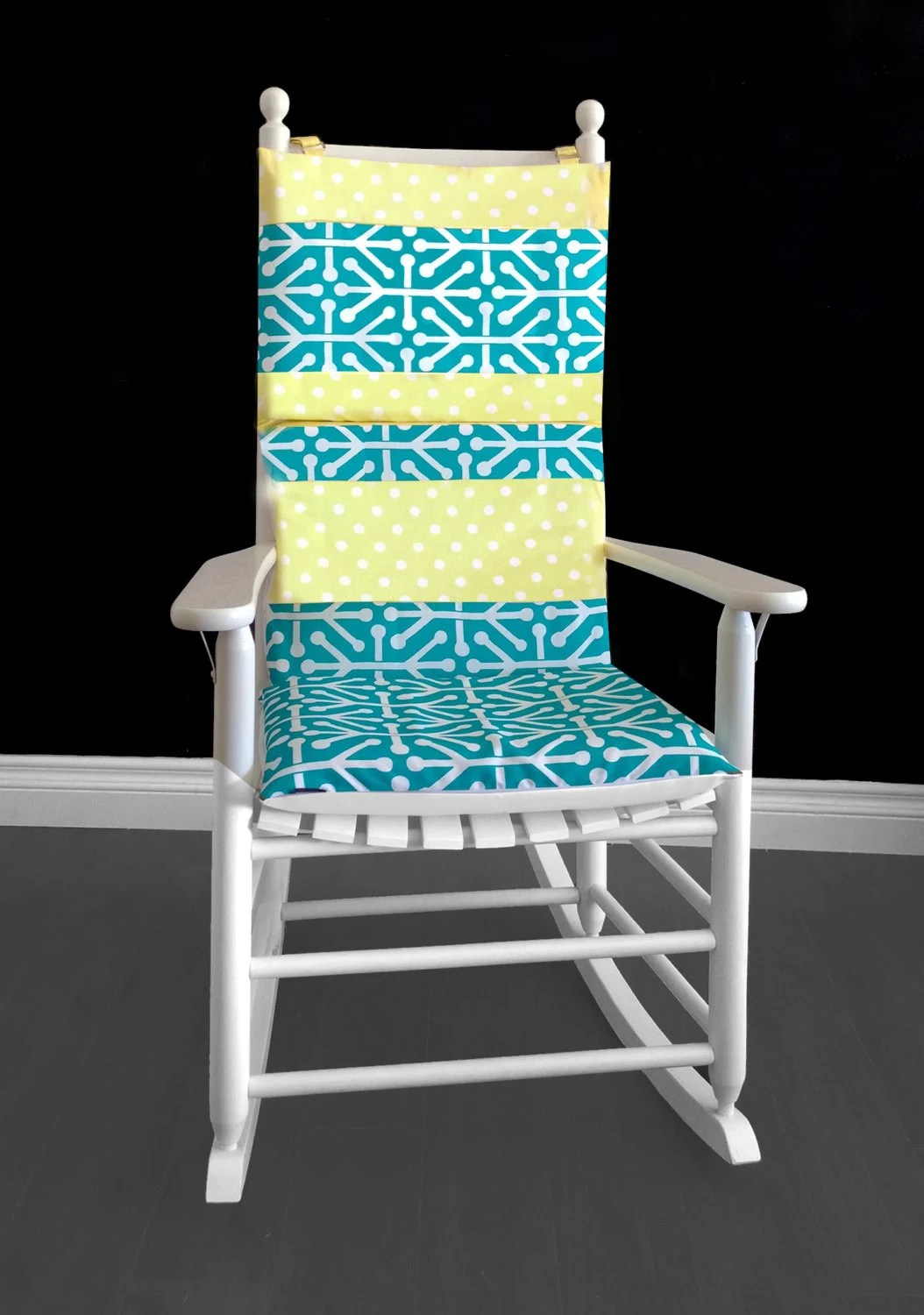 polka dot rocking chair cushions padded wooden folding chairs yellow cushion cover