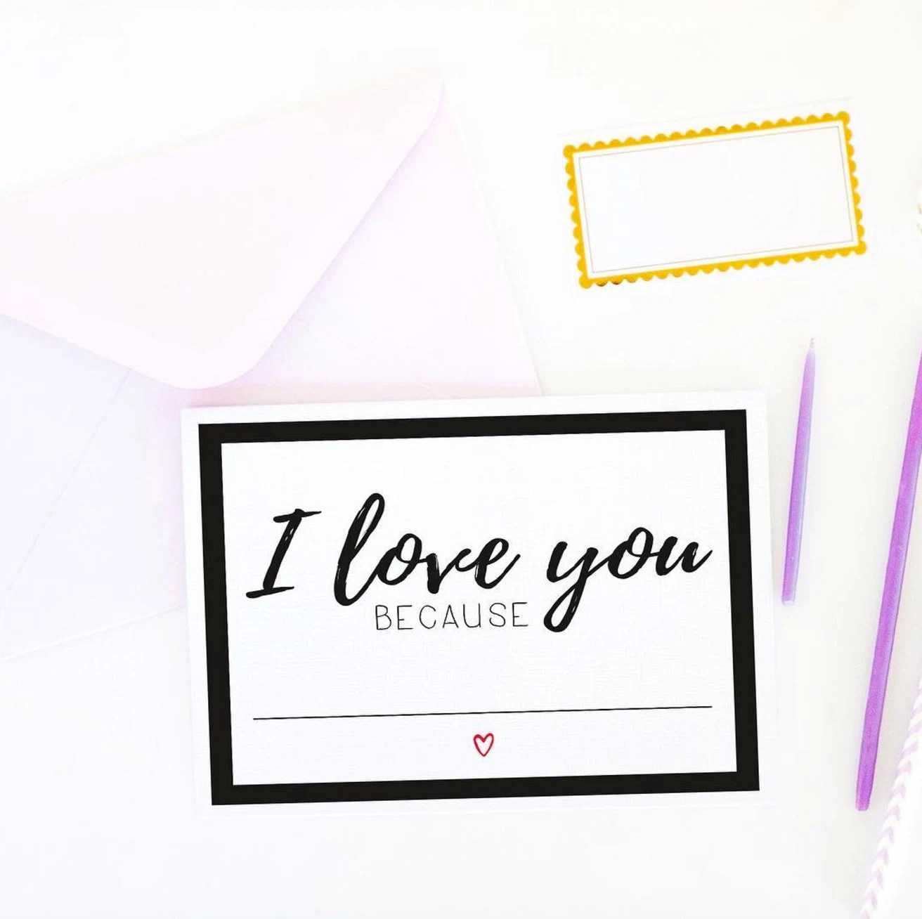 Valentines Day Card I Love You Because Fill In The Blank