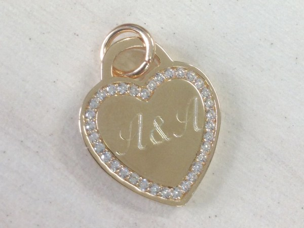 Tiffany Heart Necklace Gold Engraved Zircons