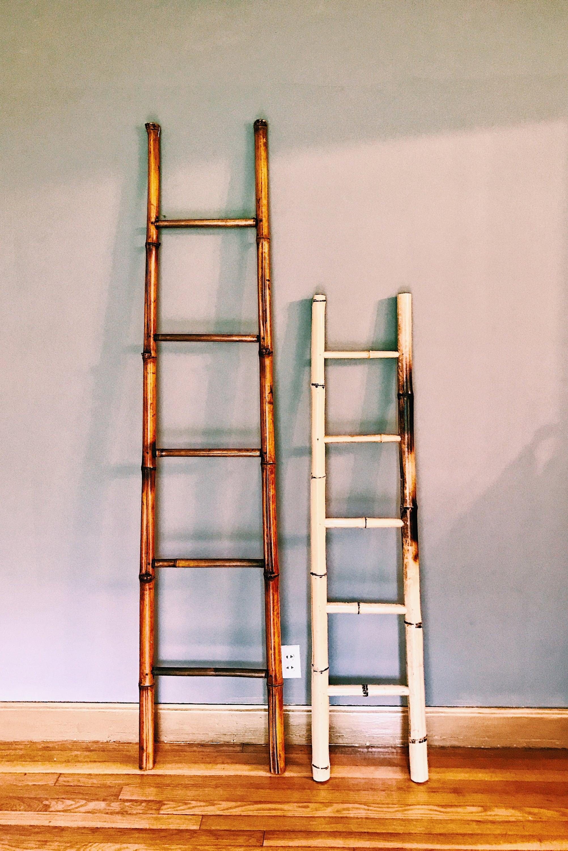 Vintage Bamboo Blanket Ladder  Towel Rack Ladder  Decorative