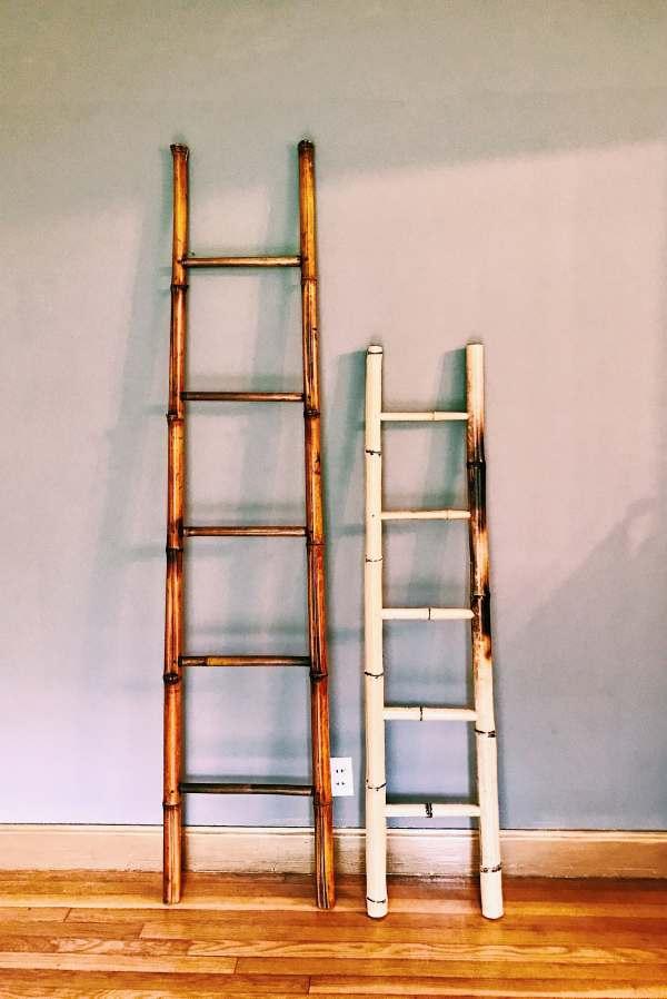 Vintage Bamboo Blanket Ladder Towel Rack Decorative