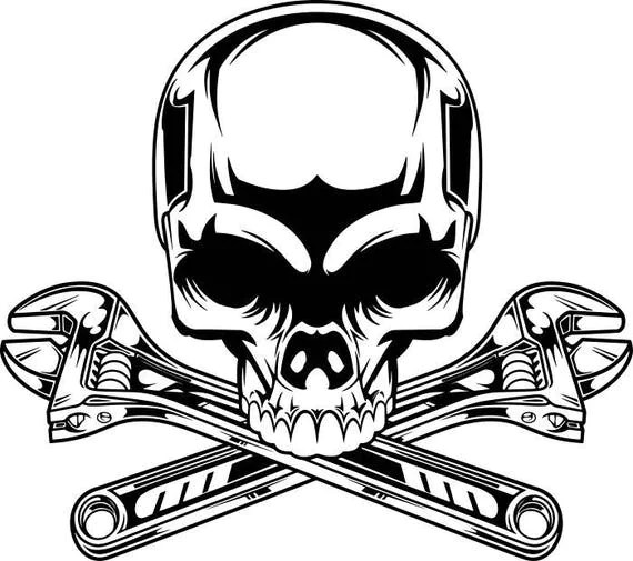 Mechanic Logo #2 Skull Wrench Crossed Engine Car Auto