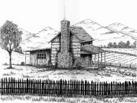 Log cabin print country cabin landscape mountain cabin