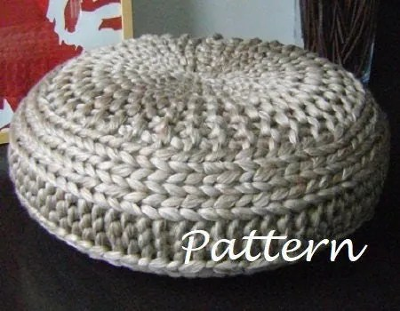 KNITTING PATTERN Knitted Extra Large Pouf Pattern Poof