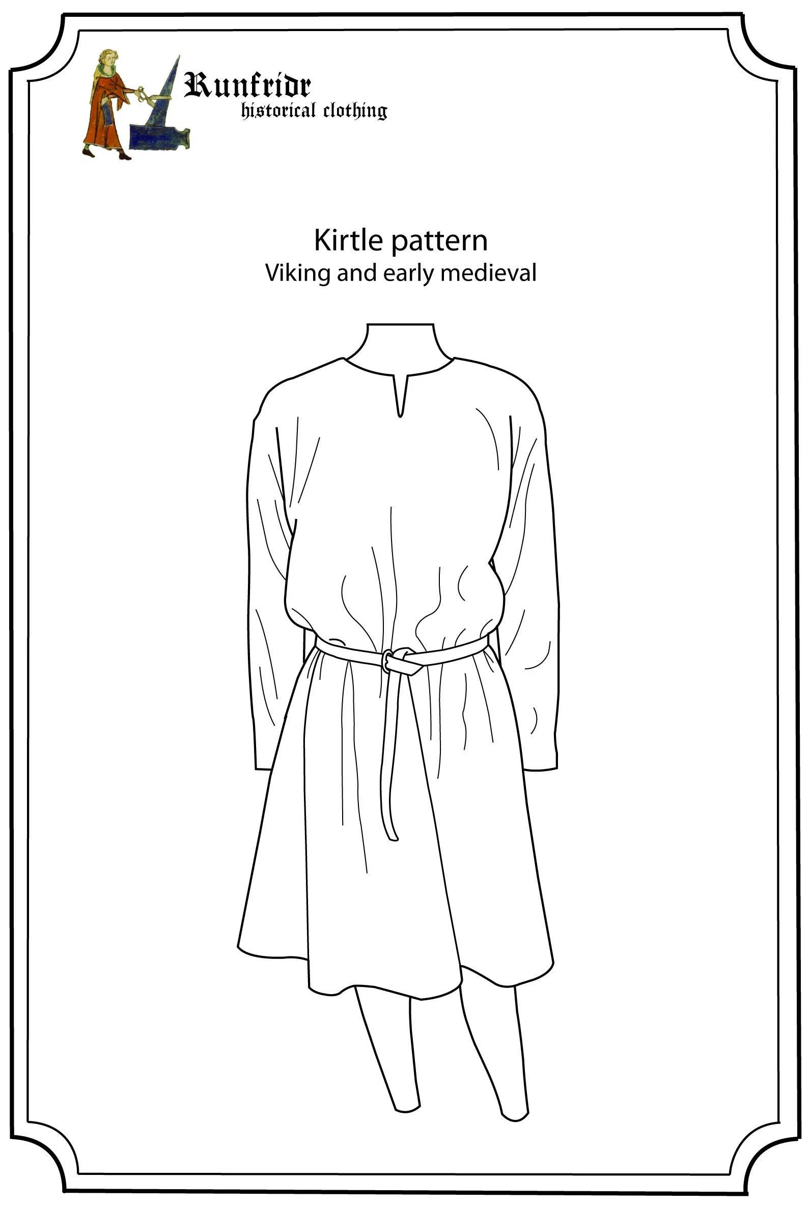 Viking tunic kirtle sewing pattern